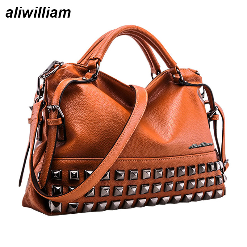 7e3873d90d47 New Rivet Women Leather Handbags Vintage Woman Bags Bag Handbag Fashion  Handbags Women Shoulder Bags Leather Pu Tote Bag - Gift-Jewelry Shopping  Mall